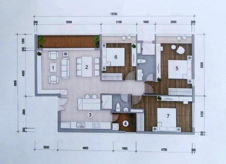 Thiết kế căn hộ Green Star 3 phòng ngủ 101.1m2