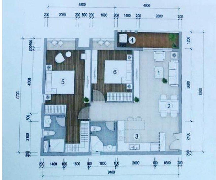 Thiết kế căn hộ Green Star 2 phòng ngủ – 74.13m2