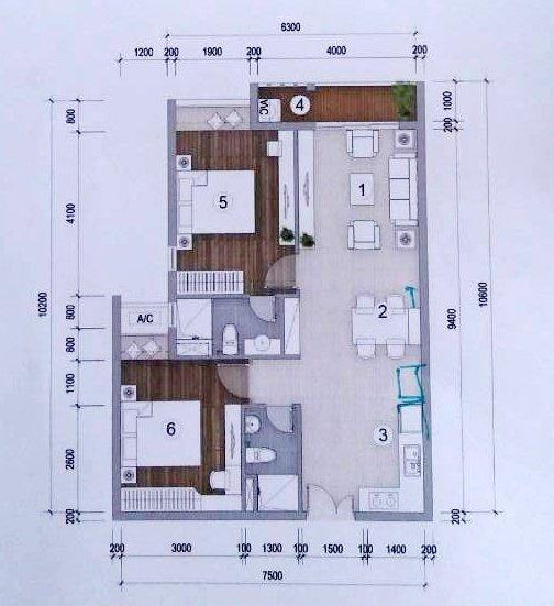 Thiết kế căn hộ Green Star 2 phòng ngủ -71 m2
