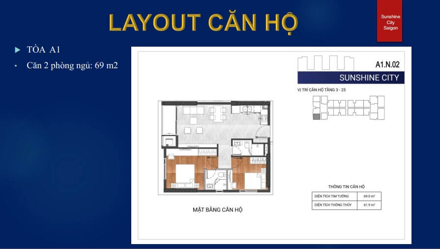 Layout Tòa A1 - 2 PN