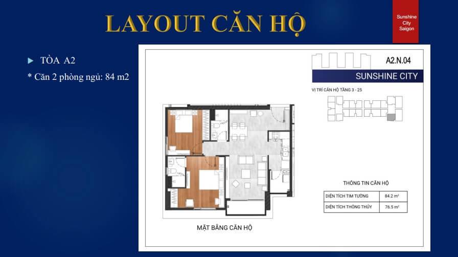 Layout Tòa A2 - 2PN