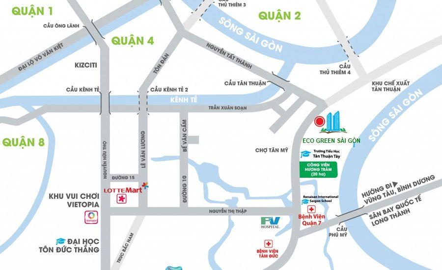 Vị trí dự án Eco Green Sài Gòn